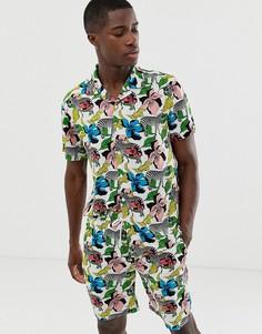 Комбинируемая рубашка с короткими рукавами, отложным воротником и принтом Brave Soul-Белый