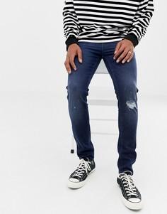 Темные джинсы скинни из денима плотностью 14 унций ASOS DESIGN-Синий