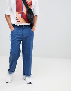 Джинсы с широкими штанинами и полосками по бокам ADD-Синий