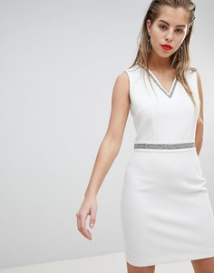 Платье мини с глубоким вырезом и отделкой Morgan-Белый