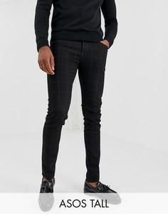 Черные джинсы скинни в клетку ASOS DESIGN Tall-Черный