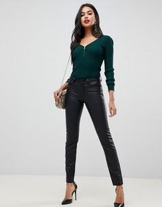 Черные брюки из искусственной кожи Morgan-Черный