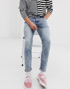 Укороченные джинсы скинни с эффектом кислотной стирки ASOS DESIGN-Синий