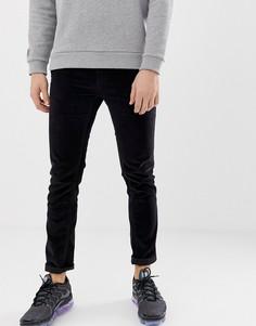Вельветовые брюки узкого кроя D-Struct-Черный