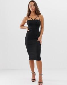 Облегающее платье миди в стиле 90-х ASOS DESIGN-Черный
