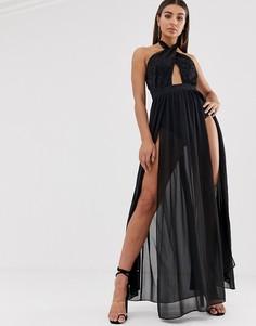 Черное платье макси с перекрещенной отделкой спереди и высокими разрезами Lasula-Черный