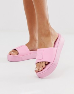 Розовые шлепанцы на платформе Puma-Розовый
