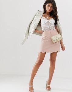Строгая мини юбка-трапеция с фактурной отделкой по краю ASOS DESIGN-Розовый