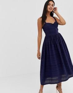 Премиум-платье миди для выпускного с вышивкой ришелье ASOS DESIGN-Темно-синий