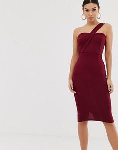 Облегающее платье миди на одно плечо AX Paris-Фиолетовый