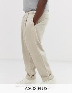 Широкие вельветовые брюки со складками ASOS DESIGN Plus-Бежевый
