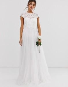 Свадебное платье с декорированным лифом и сетчатой юбкой ASOS EDITION-Белый