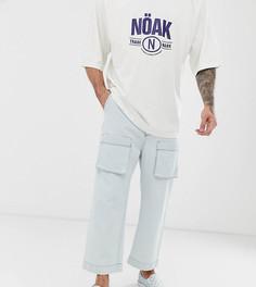 Светло-выбеленные джинсы с широкими штанинами и карманами карго Noak-Синий