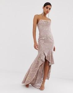 Розовое платье-бандо с пайетками Bariano-Розовый