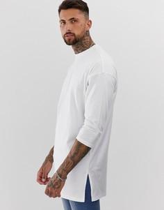 Удлиненная белая oversize-футболка с рукавами 3/4 ASOS DESIGN-Белый