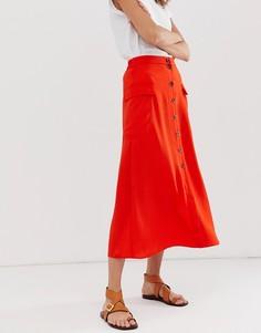 Юбка макси на пуговицах в стиле милитари ASOS DESIGN-Красный