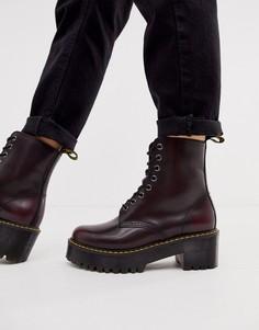 Высокие бордовые ботинки на каблуке Dr Martens Shriver Wyoming-Красный
