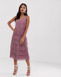 Кружевное платье миди с V-образным вырезом Little Mistress-Розовый