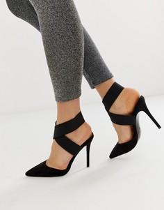 Черные туфли на высоком каблуке с эластичными ремешками ASOS DESIGN-Черный