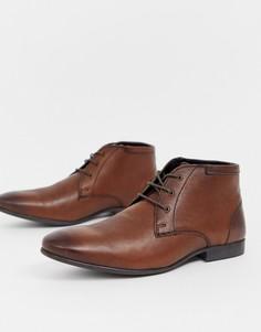 Коричневые кожаные ботинки чукка ASOS DESIGN-Коричневый