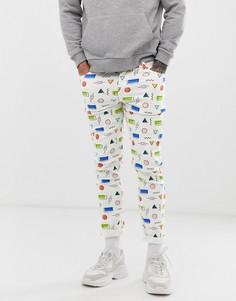 Белые джинсы скинни с принтом ASOS DESIGN-Белый