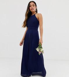 Темно-синее платье макси с американской проймой эксклюзивно от TFNC Petite bridesmaid-Темно-синий