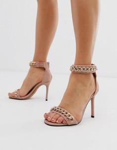 Розовые легкие босоножки на каблуке с цепочками River Island-Розовый