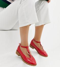 Туфли на плоской подошве для широкой стопы с двойными кольцами ASOS DESIGN Maxy-Красный