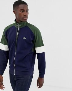 Темно-синяя спортивная куртка в стиле колор блок на молнии Lacoste-Темно-синий