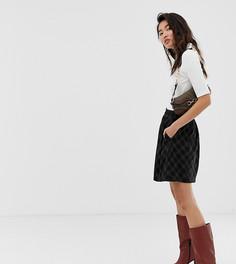 Коричневая юбка-трапеция мини в клетку Esprit-Коричневый