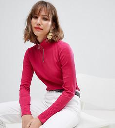 Розовый трикотажный топ с молнией на воротнике Esprit-Красный