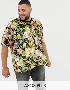 Велюровая oversize-футболка с принтом роз и цепочек ASOS DESIGN Plus-Черный