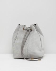 Замшевая сумка-мешок ASOS DESIGN-Серый