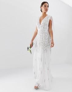Свадебное платье с кейпом ASOS EDITION-Белый