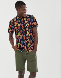 Рубашка с короткими рукавами и фруктовым принтом Brave Soul-Темно-синий