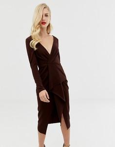 Платье миди с запахом и длинными рукавами ASOS DESIGN-Коричневый