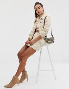 Светло-бежевая комбинируемая джинсовая юбка-трапеция с контрастной строчкой Missguided-Белый