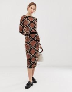 Комбинируемая юбка со змеиным принтом ASOS DESIGN-Мульти