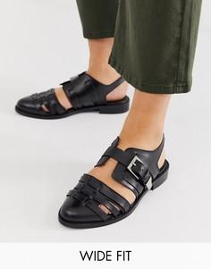 Кожаные туфли на плоской подошве для широкой стопы ASOS DESIGN Minister-Черный