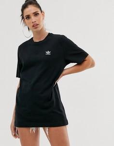 Черная футболка с небольшим логотипом adidas Originals Essential-Черный