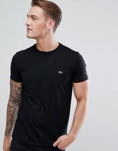 Черная футболка с логотипом Lacoste-Черный
