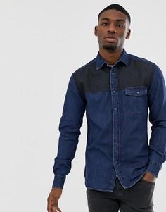 Темно-синяя джинсовая рубашка классического кроя Esprit-Синий