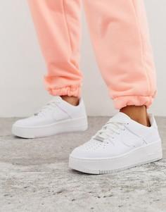 Белые низкие кроссовки Nike Air Force 1 Sage-Белый
