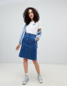 Джинсовая юбка-трапеция Lee-Синий