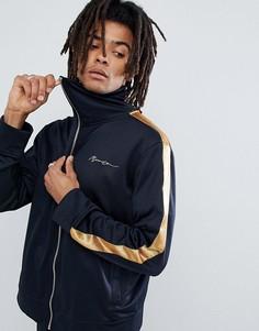 Темно-синяя спортивная куртка с золотистыми полосами по бокам Mennace-Темно-синий