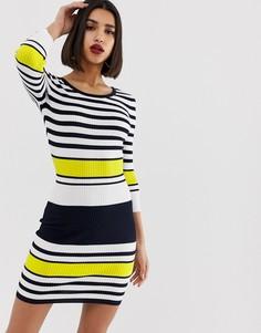 Вязаное платье-футляр в яркую полоску Morgan-Мульти
