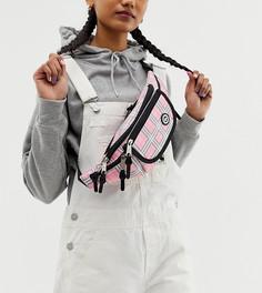 Розовая сумка-кошелек на пояс в клетку эксклюзивно от Hype-Розовый