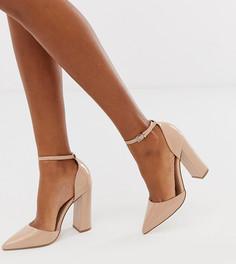 Туфли на блочном каблуке с острым носком ASOS DESIGN-Бежевый