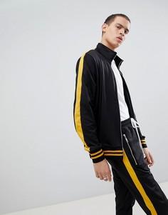 Черная спортивная куртка с желтой полосой по бокам Criminal Damage-Черный