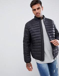 Черная стеганая куртка с воротником-стойкой ASOS DESIGN-Черный